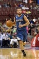 Oct 23, 2013; Philadelphia, PA, USA; Minnesota Timberwolves guard Jose Barea (11) brings the ball up court during the second quarter against the Philadelphia 76ers at Wells Fargo Center. The Timberwolves defeated the Sixers 125-102. Mandatory Credit: Howard Smith-USA TODAY Sports