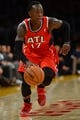 Nov 3, 2013; Los Angeles, CA, USA; Atlanta Hawks point guard Dennis Schroder (17) drives to the baseline during the first half against the Los Angeles Lakers at Staples Center. Mandatory Credit: Robert Hanashiro-USA TODAY Sports