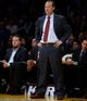 Nov 3, 2013; Los Angeles, CA, USA; Atlanta Hawks head coach Mike Budenholzer on the sidelines during the Hawks game against the Los Angeles Lakers at Staples Center. Mandatory Credit: Robert Hanashiro-USA TODAY Sports
