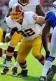 Aug 24, 2013; Landover, MD, USA; Washington Redskins tight end Logan Paulsen (82) prepares to block during the first half against the Buffalo Bills at FedEX Field. Mandatory Credit: Brad Mills-USA TODAY Sports