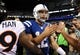 Oct 20, 2013; Indianapolis, IN, USA; Indianapolis Colts quarterback Andrew Luck (12) following the win over the Denver Broncos at Lucas Oil Stadium. Mandatory Credit: The Colts defeated the Broncos 39-33. Mandatory Credit: Ron Chenoy-USA TODAY Sports