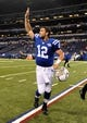 Oct 20, 2013; Indianapolis, IN, USA; Indianapolis Colts quarterback Andrew Luck (12) reacts as he leaves the field following the win over the Denver Broncos at Lucas Oil Stadium. The Colts defeated the Broncos 39-33. Mandatory Credit: Ron Chenoy-USA TODAY Sports