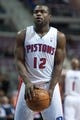 Oct 22, 2013; Auburn Hills, MI, USA; Detroit Pistons point guard Will Bynum (12) shoots a free throw during the third quarter against the Washington Wizards at The Palace of Auburn Hills. Pistons won 99-96. Mandatory Credit: Tim Fuller-USA TODAY Sports