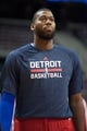 Oct 22, 2013; Auburn Hills, MI, USA; Detroit Pistons center Greg Monroe (10) before the game against the Washington Wizards at The Palace of Auburn Hills. Mandatory Credit: Tim Fuller-USA TODAY Sports