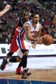 Oct 22, 2013; Auburn Hills, MI, USA; Detroit Pistons point guard Peyton Siva (34) drives to the basket during the game against the Washington Wizards at The Palace of Auburn Hills. Pistons won 99-96. Mandatory Credit: Tim Fuller-USA TODAY Sports