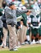 Nov 2, 2013; East Lansing, MI, USA; Michigan State Spartans head coach Mark Dantonio walks the sidelines during the 1st quarter of a game against the Michigan Wolverines at Spartan Stadium. Mandatory Credit: Mike Carter-USA TODAY Sports