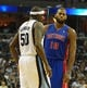 Nov 1, 2013; Memphis, TN, USA; Memphis Grizzlies power forward Zach Randolph (50) and Detroit Pistons center Greg Monroe (10) talk during the game at FedExForum. Memphis Grizzlies beat the Detroit Pistons 111 - 108. Mandatory Credit: Justin Ford-USA TODAY Sports