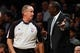 Nov 5, 2013; Brooklyn, NY, USA; Utah Jazz head coach Tyrone Corbin argues a call with a referee during the first quarter against the Brooklyn Nets at Barclays Center. Mandatory Credit: Anthony Gruppuso-USA TODAY Sports