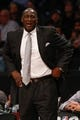 Nov 5, 2013; Brooklyn, NY, USA;  Utah Jazz head coach Tyrone Corbin reacts during the first quarter against the Brooklyn Nets at Barclays Center. Mandatory Credit: Anthony Gruppuso-USA TODAY Sports