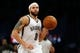 Nov 5, 2013; Brooklyn, NY, USA;  Brooklyn Nets point guard Deron Williams (8) advances the ball during the first quarter against the Utah Jazz at Barclays Center. Mandatory Credit: Anthony Gruppuso-USA TODAY Sports