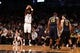 Nov 5, 2013; Brooklyn, NY, USA;  Brooklyn Nets power forward Kevin Garnett (2) shoots a three pointer during the second quarter against the Utah Jazz at Barclays Center. Mandatory Credit: Anthony Gruppuso-USA TODAY Sports