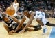 Nov 5, 2013; Denver, CO, USA; Denver Nuggets forward Kenneth Faried (35) and San Antonio Spurs forward Kawhi Leonard (2) dive for a loose ball during the first half at Pepsi Center. Mandatory Credit: Chris Humphreys-USA TODAY Sports