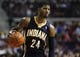 Nov 5, 2013; Auburn Hills, MI, USA; Indiana Pacers small forward Paul George (24) dribbles the ball during the third quarter against the Detroit Pistons at The Palace of Auburn Hills. The Pacers beat the Pistons 99-91. Mandatory Credit: Raj Mehta-USA TODAY Sports
