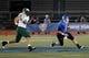 Nov 5, 2013; Buffalo, NY, USA; Ohio Bobcats defensive lineman Casey Sayles (44) chases Buffalo Bulls quarterback Joe Licata (16) during the second half at University of Buffalo Stadium. Buffalo beat Ohio 30-3. Mandatory Credit: Kevin Hoffman-USA TODAY Sports