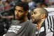 Nov 5, 2013; Denver, CO, USA; San Antonio Spurs  forward Tim Duncan (left) and guard Tony Parker (right) before the game against the Denver Nuggets at Pepsi Center. Mandatory Credit: Chris Humphreys-USA TODAY Sports