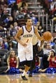 Nov 4, 2013; Philadelphia, PA, USA; Philadelphia 76ers guard Michael Carter-Williams (1) brings the ball up court during the third quarter against the Golden State Warriors at Wells Fargo Center. The Warriors defeated the Sixers 110-90. Mandatory Credit: Howard Smith-USA TODAY Sports