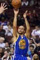 Nov 4, 2013; Philadelphia, PA, USA; Golden State Warriors guard Stephen Curry (30) shoots a jump shot during the second quarter against the Philadelphia 76ers at Wells Fargo Center. The Warriors defeated the Sixers 110-90. Mandatory Credit: Howard Smith-USA TODAY Sports