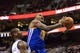 Nov 4, 2013; Philadelphia, PA, USA; Golden State Warriors forward Marreese Speights (5) shoots as Philadelphia 76ers center Lavoy Allen (50) defends during the third quarter at Wells Fargo Center. The Warriors defeated the Sixers 110-90. Mandatory Credit: Howard Smith-USA TODAY Sports