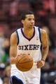 Nov 4, 2013; Philadelphia, PA, USA; Philadelphia 76ers guard Michael Carter-Williams (1) brings the ball up court during the fourth quarter against the Golden State Warriors at Wells Fargo Center. The Warriors defeated the Sixers 110-90. Mandatory Credit: Howard Smith-USA TODAY Sports