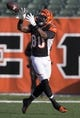 December 30, 2012; Cincinnati, OH, USA; Cincinnati Bengals tight end Orson Charles (80) warms up before the game against the Baltimore Ravens at Paul Brown Stadium. Mandatory Credit: Greg Bartram-USA TODAY Sports