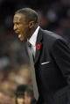Nov 6, 2013; Charlotte, NC, USA; Toronto Raptors head coach Dwane Casey during the game against the Charlotte Bobcats at Time Warner Cable Arena. Bobcats win 92-90.  Mandatory Credit: Sam Sharpe-USA TODAY Sports