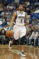 Nov 6, 2013; Minneapolis, MN, USA; Minnesota Timberwolves point guard Ricky Rubio (9) dribbles the ball down the court in the second half against the Golden State Warriors at Target Center. The Warriors won 106-93. Mandatory Credit: Jesse Johnson-USA TODAY Sports