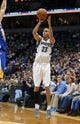 Nov 6, 2013; Minneapolis, MN, USA; Minnesota Timberwolves shooting guard Kevin Martin (23) goes up for a shot in the second half against the Golden State Warriors at Target Center. The Warriors won 106-93. Mandatory Credit: Jesse Johnson-USA TODAY Sports