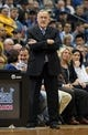 Nov 6, 2013; Minneapolis, MN, USA; Minnesota Timberwolves head coach Rick Adelman looks on during the second half against the Golden State Warriors at Target Center. The Warriors won 106-93. Mandatory Credit: Jesse Johnson-USA TODAY Sports