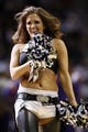 Nov 6, 2013; San Antonio, TX, USA; San Antonio Spurs cheerleader performs during the first half against the Phoenix Suns at AT&T Center. Mandatory Credit: Soobum Im-USA TODAY Sports