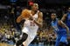 Nov 6, 2013; Oklahoma City, OK, USA; Oklahoma City Thunder small forward Kevin Durant (35) handles the ball against Dallas Mavericks center DeJuan Blair (45) during the fourth quarter at Chesapeake Energy Arena. Mandatory Credit: Mark D. Smith-USA TODAY Sports