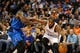 Nov 6, 2013; Oklahoma City, OK, USA; Oklahoma City Thunder small forward Kevin Durant (35) handles the ball against /Dallas Mavericks small forward Jae Crowder (9) during the second quarter at Chesapeake Energy Arena. Mandatory Credit: Mark D. Smith-USA TODAY Sports
