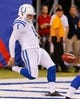Aug 18, 2013; East Rutherford, NJ, USA; Indianapolis Colts punter Pat McAfee (1) punts from his own end zone during the first half against the New York Giants at MetLife Stadium. Mandatory Credit: Jim O'Connor-USA TODAY Sports