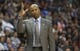 Nov 7, 2013; Denver, CO, USA; Denver Nuggets head coach Brian Shaw reacts during the first half against the  Atlanta Hawks at Pepsi Center. Mandatory Credit: Chris Humphreys-USA TODAY Sports