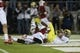 Nov 7, 2013; Stanford, CA, USA; Oregon Ducks wide receiver Daryle Hawkins (16) scores a touchdown against Stanford Cardinal safety Jordan Richards (8) during the fourth quarter at Stanford Stadium. The Stanford Cardinal defeated the Oregon Ducks 26-20. Mandatory Credit: Kelley L Cox-USA TODAY Sports