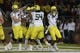 Nov 7, 2013; Stanford, CA, USA; Oregon Ducks surround wide receiver Daryle Hawkins (16) after a touchdown against the Stanford Cardinal during the fourth quarter at Stanford Stadium. The Stanford Cardinal defeated the Oregon Ducks 26-20. Mandatory Credit: Kelley L Cox-USA TODAY Sports