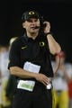 November 7, 2013; Stanford, CA, USA; Oregon Ducks head coach Mark Helfrich talks into his headset during the second quarter against the Stanford Cardinal at Stanford Stadium. Mandatory Credit: Kyle Terada-USA TODAY Sports