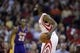 Nov 7, 2013; Houston, TX, USA; Houston Rockets shooting guard James Harden (13) directs the offense against the Los Angeles Lakers during the second half at Toyota Center. The Lakers won 99-98. Mandatory Credit: Thomas Campbell-USA TODAY Sports