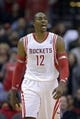 Nov 7, 2013; Houston, TX, USA; Houston Rockets center Dwight Howard (12) reacts to a call against the Los Angeles Lakers during the second half at Toyota Center. The Lakers won 99-98. Mandatory Credit: Thomas Campbell-USA TODAY Sports
