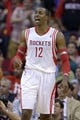 Nov 7, 2013; Houston, TX, USA; Houston Rockets center Dwight Howard (12) argues a call against the Los Angeles Lakers during the second half at Toyota Center. The Lakers won 99-98. Mandatory Credit: Thomas Campbell-USA TODAY Sports