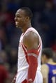 Nov 7, 2013; Houston, TX, USA; Houston Rockets center Dwight Howard (12) laughs after being intentionally fouled against the Los Angeles Lakers during the second half at Toyota Center. The Lakers won 99-98. Mandatory Credit: Thomas Campbell-USA TODAY Sports