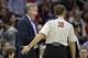 Nov 7, 2013; Houston, TX, USA; Los Angeles Lakers head coach Mike D'Antoni argues a call with referee John Goble (30) against the Houston Rockets during the second half at Toyota Center. The Lakers won 99-98. Mandatory Credit: Thomas Campbell-USA TODAY Sports
