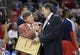Nov 7, 2013; Houston, TX, USA; Houston Rockets head coach Kevin McHale interviews with reporter Craig Sager during the second half against the Los Angeles Lakers at Toyota Center. The Lakers won 99-98. Mandatory Credit: Thomas Campbell-USA TODAY Sports