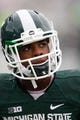 Nov 2, 2013; East Lansing, MI, USA; Michigan State Spartans cornerback Darian Hicks (2) before the game against the Michigan Wolverines at Spartan Stadium. The Spartans beat the Wolverines 29-6. Mandatory Credit: Raj Mehta-USA TODAY Sports
