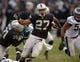Nov 3, 2013; Oakland, CA, USA; Oakland Raiders running back Rashad Jennings (27) carries the ball against the Philadelphia Eagles at O.co Coliseum. The Eagles defeated the Raiders 49-20. Mandatory Credit: Kirby Lee-USA TODAY Sports