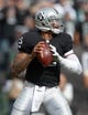 Nov 3, 2013; Oakland, CA, USA; Oakland Raiders quarterback Terrelle Pryor (2) throws a pass against the Philadelphia Eagles at O.co Coliseum. The Eagles defeated the Raiders 49-20. Mandatory Credit: Kirby Lee-USA TODAY Sports