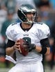 Nov 3, 2013; Oakland, CA, USA; Philadelphia Eagles quarterback Nick Foles (9) throws a pass during the game against the Oakland Raiders at O.co Coliseum. The Eagles defeated the Raiders 49-20. Mandatory Credit: Kirby Lee-USA TODAY Sports