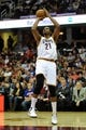Nov 4, 2013; Cleveland, OH, USA; Cleveland Cavaliers center Andrew Bynum (21) during a game against the Minnesota Timberwolves at Quicken Loans Arena. Cleveland won 93-92. Mandatory Credit: David Richard-USA TODAY Sports