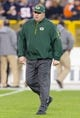 Nov 4, 2013; Green Bay, WI, USA; Green Bay Packers head coach Mike McCarthy during warmups prior to the game against the Chicago Bears at Lambeau Field. Chicago won 27-20.  Mandatory Credit: Jeff Hanisch-USA TODAY Sports