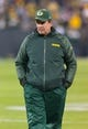 Nov 4, 2013; Green Bay, WI, USA; Green Bay Packers defense coordinator Dom Capers looks on during warmups prior to the game against the Chicago Bears at Lambeau Field. Chicago won 27-20.  Mandatory Credit: Jeff Hanisch-USA TODAY Sports