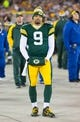 Nov 4, 2013; Green Bay, WI, USA; Green Bay Packers quarterback Seneca Wallace (9) during the game against the Chicago Bears at Lambeau Field. Chicago won 27-20.  Mandatory Credit: Jeff Hanisch-USA TODAY Sports